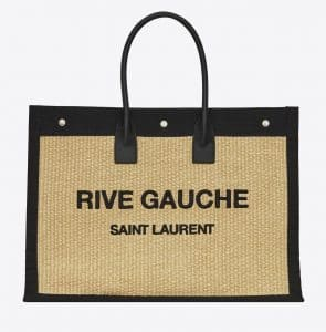 Rive Gauche Tote Bag in Embroidered Raffia and Leather Beige