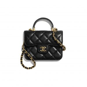 Chanel Black Top Handle Flap Coin Purse with Chain