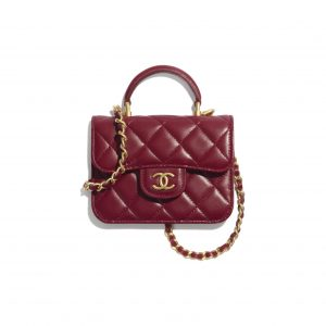 Chanel Burgundy Top Handle Flap Coin Purse with Chain