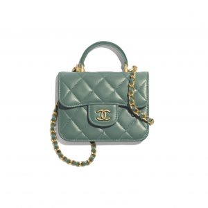 Chanel Green Top Handle Flap Coin Purse with Chain