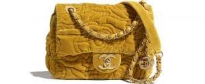 Chanel Velvet Mustard Yellow Mini Bag - Prefall 2021