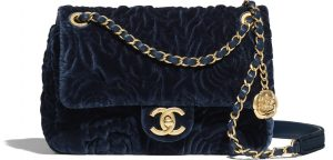 Chanel Velvet Navy Camellia Mini Bag - Prefall 2021