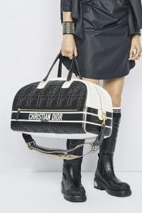 Dior Black and White Leather Bowler Bag