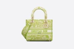 Dior Lime Toile De Jouy Medium Lady D-Lite Bag