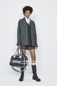 Dior Navy Blue Leather Bowler Bag
