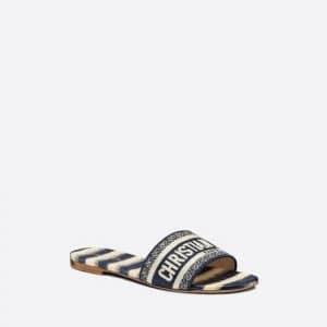 Dior New Deep Blue D Stripes Dway Slide