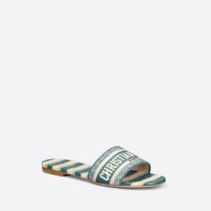 Dior New Deep Ocean Blue D Stripes Dway Slides