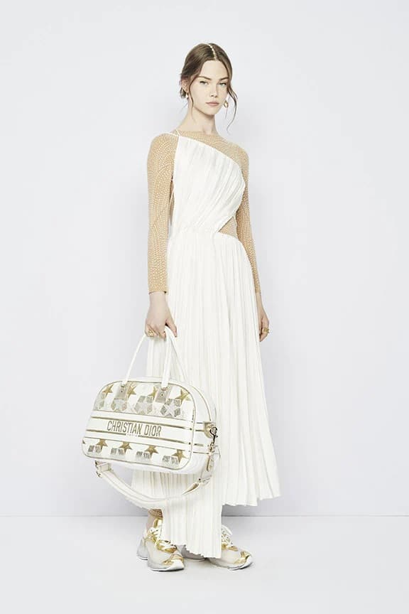 Dior White and Gold Bowler Bag