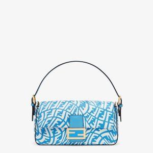 Fendi Blue FF Vertigo Baguette 1997 Bag