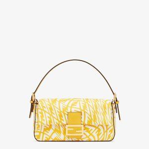 Fendi Yellow FF Vertigo Baguette 1997 Bag