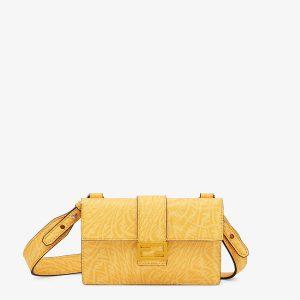 Fendi Yellow FF Vertigo Baguette Pouch