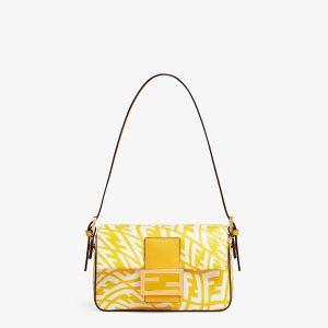 Fendi Yellow FF Vertigo Mini Baguette 1997 Bag