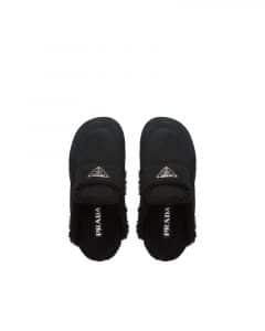 Prada Shearling Slip On Slippers