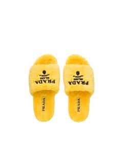 Prada Yellow Terry Cloth Slides
