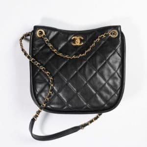 Chanel Black Calfskin Hobo Handbag