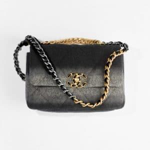 Chanel Black & Gray Wool Chanel 19 Handbag