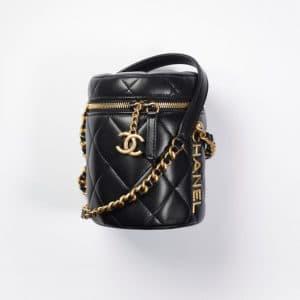 Chanel Black Lamskin Small Vanity Case