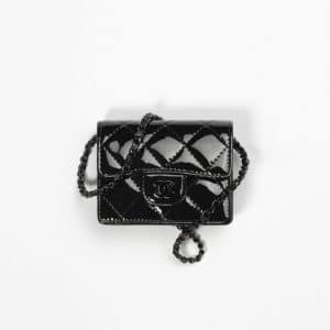 Chanel Black Patent Calfskin Classic Flap Card Holder With Chain