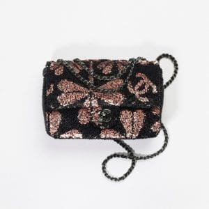 Chanel Black & Pink Sequins Small Flap Bag