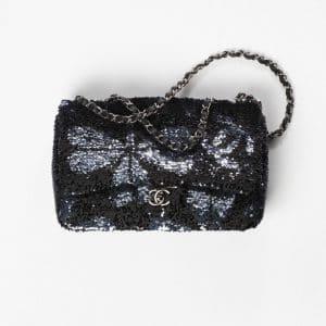 Chanel Black, Silver & Ruthenium Sequins Large Flap Bag