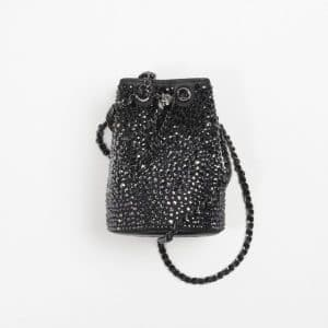 Chanel Black Strass Clutch Bucket With Chain