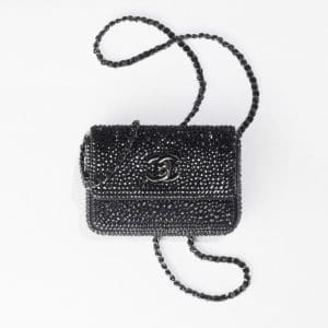 Chanel Black Strass Clutch With Chain