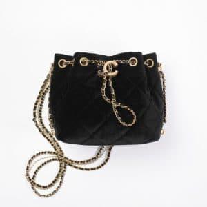 Chanel Black Velvet Small Bucket Bag