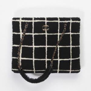Chanel Black & White Shearling Shopping Bag