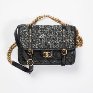 Chanel Black & White Tweed Aged Calfskin Flap Bag