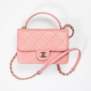 Chanel Dark Pink Small Top Handle Flap Bag