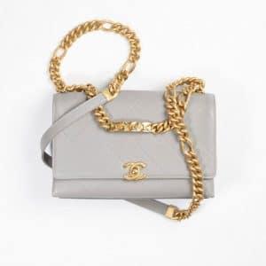 Chanel Gray Grained Calfskin & Gold-Tone Metal Flap Bag