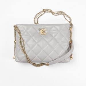 Chanel Gray Lambskin Hobo Handbag