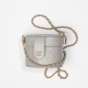 Chanel Gray Small Vanity With Chain