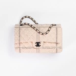 Chanel Light Pink & Black Tweed Classic Handbag