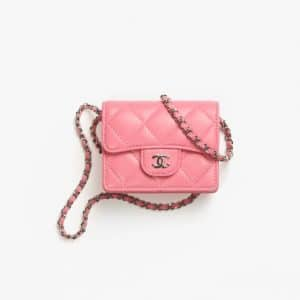 Chanel Light Pink Classic Flap Card Holder With Chain