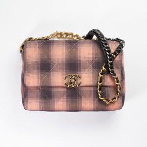 Chanel Pink & Black Cotton Chanel 19 Large Handbag