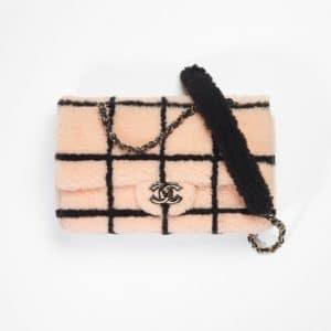 Chanel Pink & Black Shearling Large Flap Bag