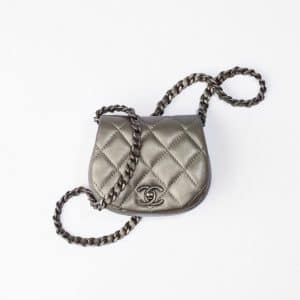 Chanel Ruthenium Clutch With Chain