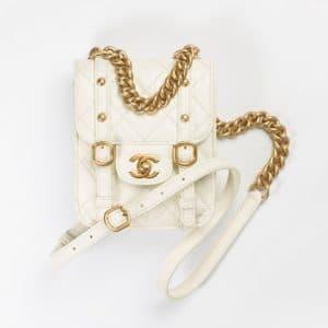 Chanel White Aged Calfskin Mini Flap Bag