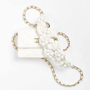Chanel White Clutch with Floral Chain