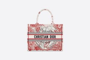 Dior Red and White D-Royaume Small Book Tote