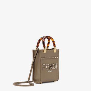 Fendi Gray Mini Sunshine Shopper Bag
